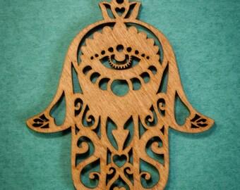 Laser Cut Wood Hamsa Ornament
