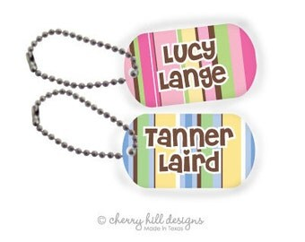 NAUTICAL BLUE or PINK Mini lunchbox tags - set of 2
