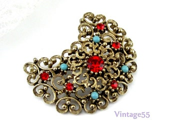 Brooch Red Rhinestone Turquoise Scrolled Crescent