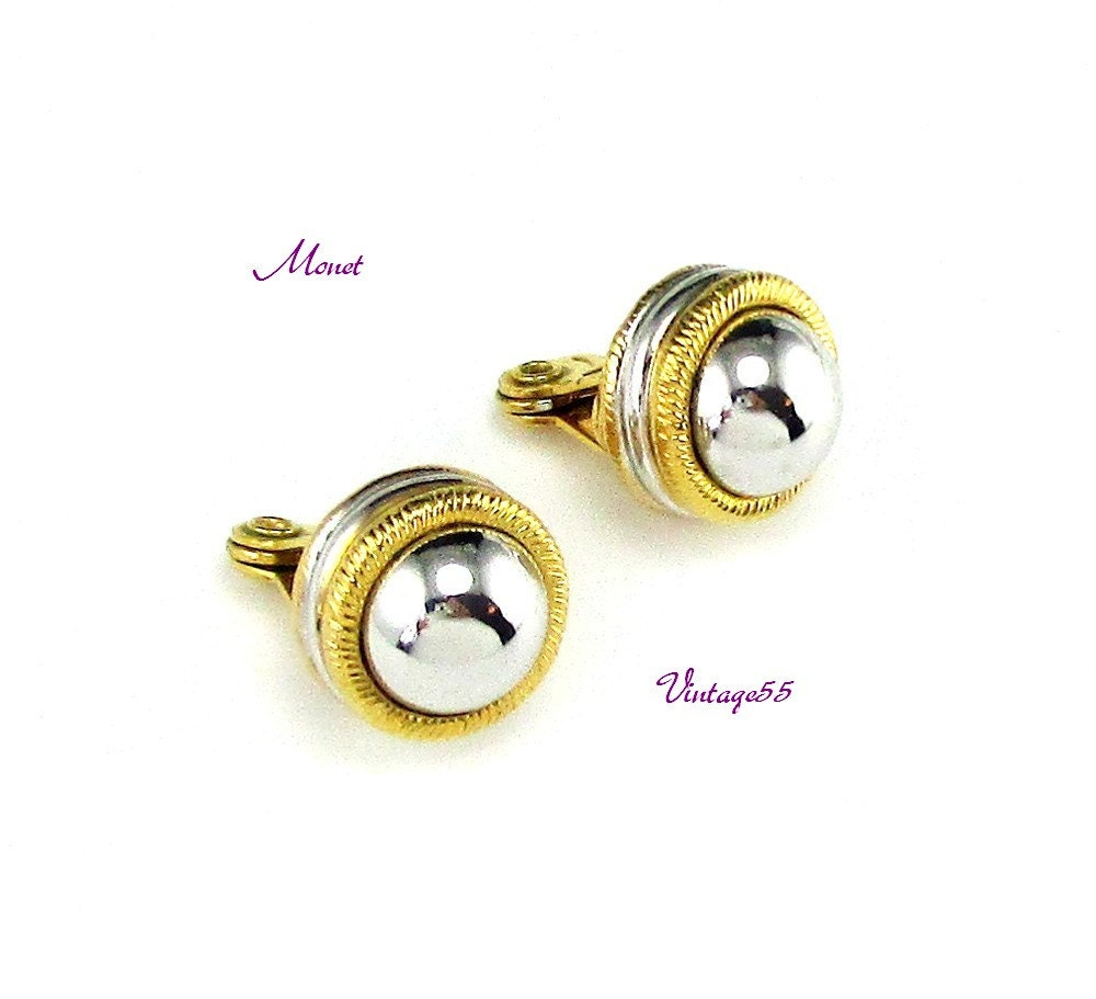 monet earrings silver tone gold tone clip on by vintage55