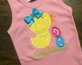 Easter Chick Applique Shirt or Onesie with personalization