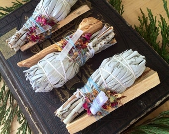 Triple Smudge Bundle Pack. Three Sage and Palo Santo Smudges.