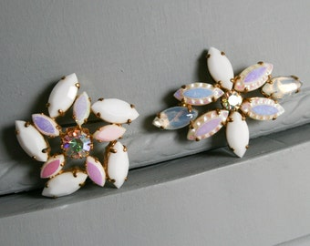Two West Germany White Rhinestone Brooches