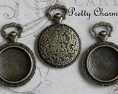 10 Pendant Bezel Trays - Vintage Pocket Watch Style Hold 20mm Glass Cabochons Antique Bronze