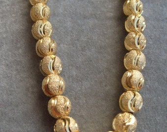 """6 """" Strand of Gold Plated Sparkle and Satin Finish Spacer (450)"""