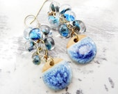 Blue Sky Ceramic and Lampwork Glass Dangle and Drop Cluster Earrings, Spring Fashion, Denim Blue