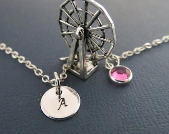Ferris Wheel Necklace, Ferris Wheel Pendant, Personalized Gift Idea, Swarovski Crystals, Monogram Necklace,Carnival, Monogram Necklace