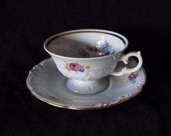 Do it Yourself Gift Roses Romance Made in Poland  Tea Cup and Saucer  SET Gold Accent  VINTAGE Embossed Lace Walbrzych   On SaLe Now