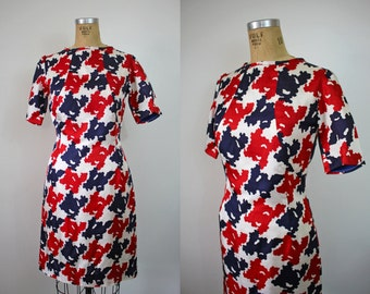vintage 1960s dress / 60s a line dress / red white blue patriotic nylon dress / 60s 4th of july dress / 60s large dress / sz L