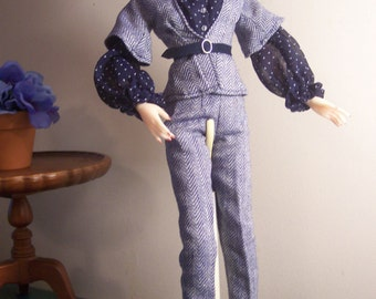 Jamieshow - Tulabelle - Wu Alex - FR 16 - Crisp Navy and White Outfit - Pants, Jacket, Blouse, Belt