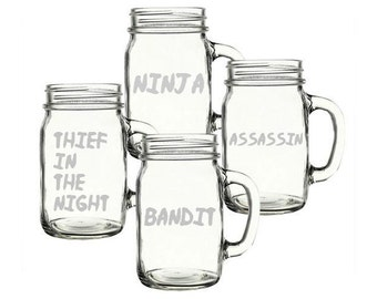 NINJA, ASSASSIN, BANDIT, Thief In The Night Glass Set - Set of 4 - Choose Your Style of Glassware