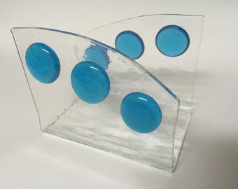 Wing shaped clear and turquoise blue glass napkin/mail holder - IN STOCK