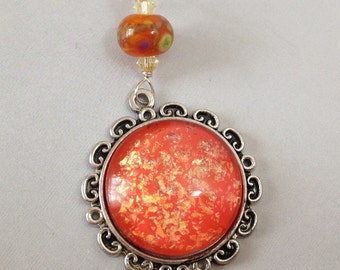 Nail Polish Necklace with Handmade Lampwork Glass on Silver Filled Chain (N-218)