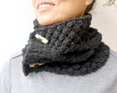 Charcoal Dark Grey Gray Knit Cable Chunky Cowl Winter Accessories Neck Warmers Scarf With Buttons