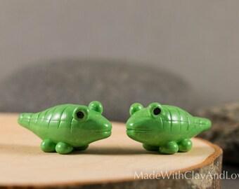 Little Alligator - Miniature Terrarium Figurine Polymer Clay Animal - Hand Sculpted