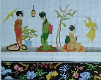 Vintage Art Deco 30s 50s Embroidery Book French - Cross Stitch New Designs 6th Series - flowers gypsies Japanese geisha girls geometrics