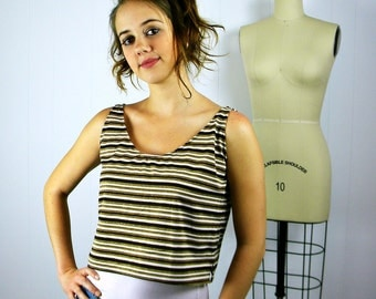 Brown and Gold Stripe Swing Tank Top, Women's Tank Top, Striped Sleeveless Shirt, Spring Shirt, Striped Tank, Boho Clothing