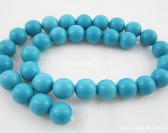 Bead, Chalk Turquoise, Blue, 12mm Round