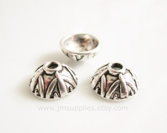 Bead Cap, Antiqued Silver 9x4mm