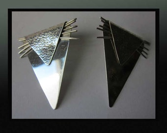 Look SHARP-Large Modernist Sterling Silver Textured Artisan Earrings signed Groves,Brutalist,Vintage Jewelry,Women