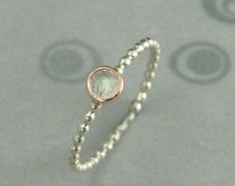Moonstone Stacking Ring~14K Rose Gold Bezel Set Moonstone~Rainbow Moonstone Ring~Moondrops Ring~Rose Cut Moonstone~3mm Moonstone Ring