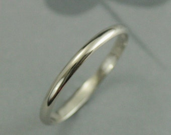White Gold 2mm Women's Wedding Band--Thin 10K Gold Band--Solid 10K White Gold Band--Hand Made Wedding Ring--White Gold Half Round Band