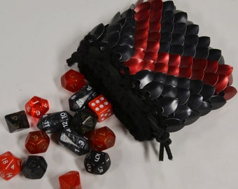 Scalemail Dice Bag in  Dragonhide knitted Armor Chevron
