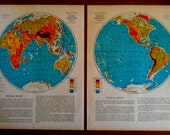 World maps, Eastern and Western Hemisphere maps, Set Of 2 Vintage 1930s old atlas maps for wall art, decor