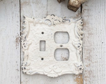 Switch - Outlet Cover Plates, Metal Wall Decor, True White, Creamy White, Style 119