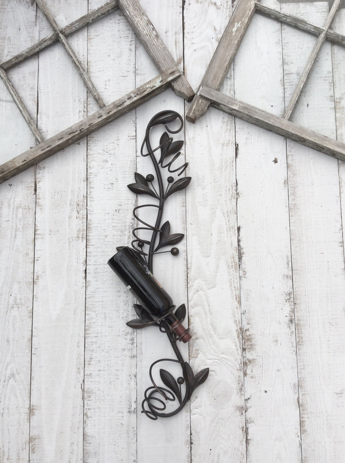Metal Wine Bottle Holder Kitchen Wall Decor Wine By CamillaCotton
