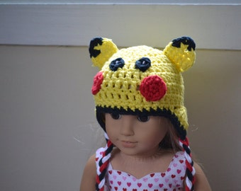 18 inch Doll Clothes - Crocheted Beanie with Ear Flaps - Yellow Monster - MADE TO ORDER - fit American Girl