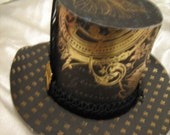 black/gold miniture paper hat, bee and bird themed, paper fascinator
