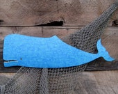 Metal Wall Art Whale Sculpture  Recycled Metal Turquoise Blue Beach House Coastal Bathroom Decor 9 x 30 Marine Ocean Art