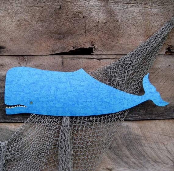Metal Wall Art Whale Sculpture  Recycled Metal Turquoise Blue Beach House Coastal Bathroom Decor 9 x 30 Marine Ocean Art