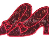 Ruby Slippers Applique Embroidered Patch, Sew or Iron on