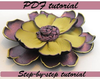 Leather flower tutorial. Fantasy flower PDF pattern