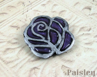 Lavender Purple Rose Brooch, mixed media flower pin