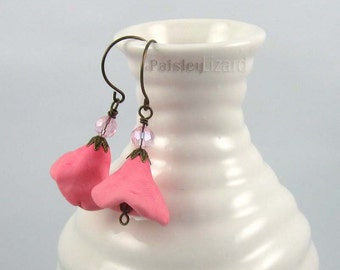 Pink Bell Flower earrings, rustic whimsy polymer clay and glass bead dangles on brass wires