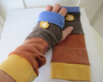 Fingerless Mittens, Arm Warmers, Long Arm Warmers, Fingerless Gloves, Upcycled Sweatshirts, Striped Arm Warmers,