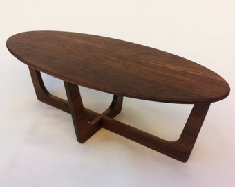 Mid Century Modern Elliptical Coffee Cocktail Table - Adrian Pearsall Inspired 50x22 Oval  - Solid Walnut  - Atomic Era Eames Proportions