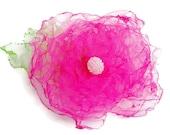 Hot pink fuchsia tulle flower accessory, wedding accessory, bridal sash, maternity sash, bridal hair, spring flower, tulle flower girl