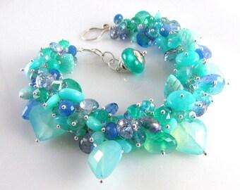 Aqua Blue and Green Cluster Gemstone Sterling Silver Adjustable Bracelet - Seaside
