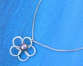 The Forever Flower - Sterling Silver Peacock Pearl Pendant Necklace