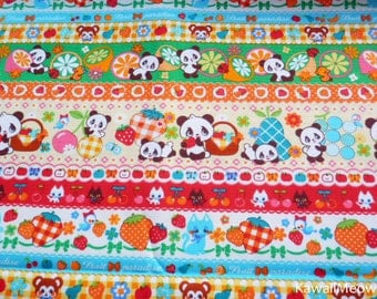 Kawaii Japanese Fabric - Striped Pattern Pandas Animals Fruit on Cream - Half Yard - (ha141107)