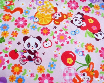 Kawaii Japanese Fabric - Pandas Animals Fruit on Pink - Fat Quarter - (ha141107