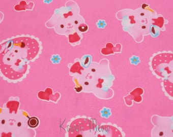 Japanese Fabric Rabbits Heart on Pink - Half Yard (12ko0126)