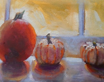 """Pumpkin painting,Impresionist art, Daily Painting, Small Oil Painting, Pumpkins by Carol Schiff, 6x12"""" Oil"""