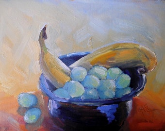 """Fruit still life, Daily Painting, Small Oil Painting, """"Banana and Grapes"""" by Carol Schiff, 6x8"""" Original"""