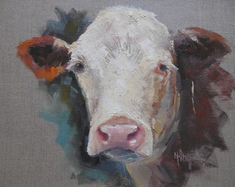 Cow Giclee Print on Canvas, Cow Canvas Print, Cow Oil Portrait, Carol Schiff Print, Free Shipping