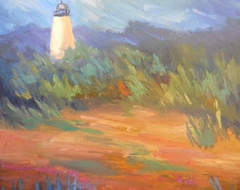 "Lighthouse Painting, Daily Painting, Small Oil Painting, ""Lighthouse on the Marsh"" 11x14"""